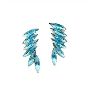 Blue Luxe Wing Crystals Earrings NWOT